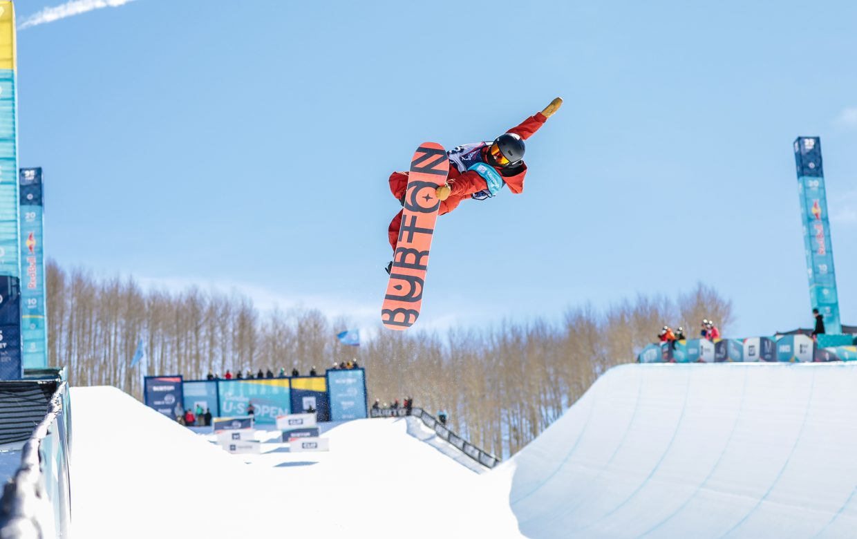 Jonas Hasler of Switzerland competes in the Junior Jam for the Burton US Open Snowboarding Championship Tuesday, Feb. 26, in Vail.