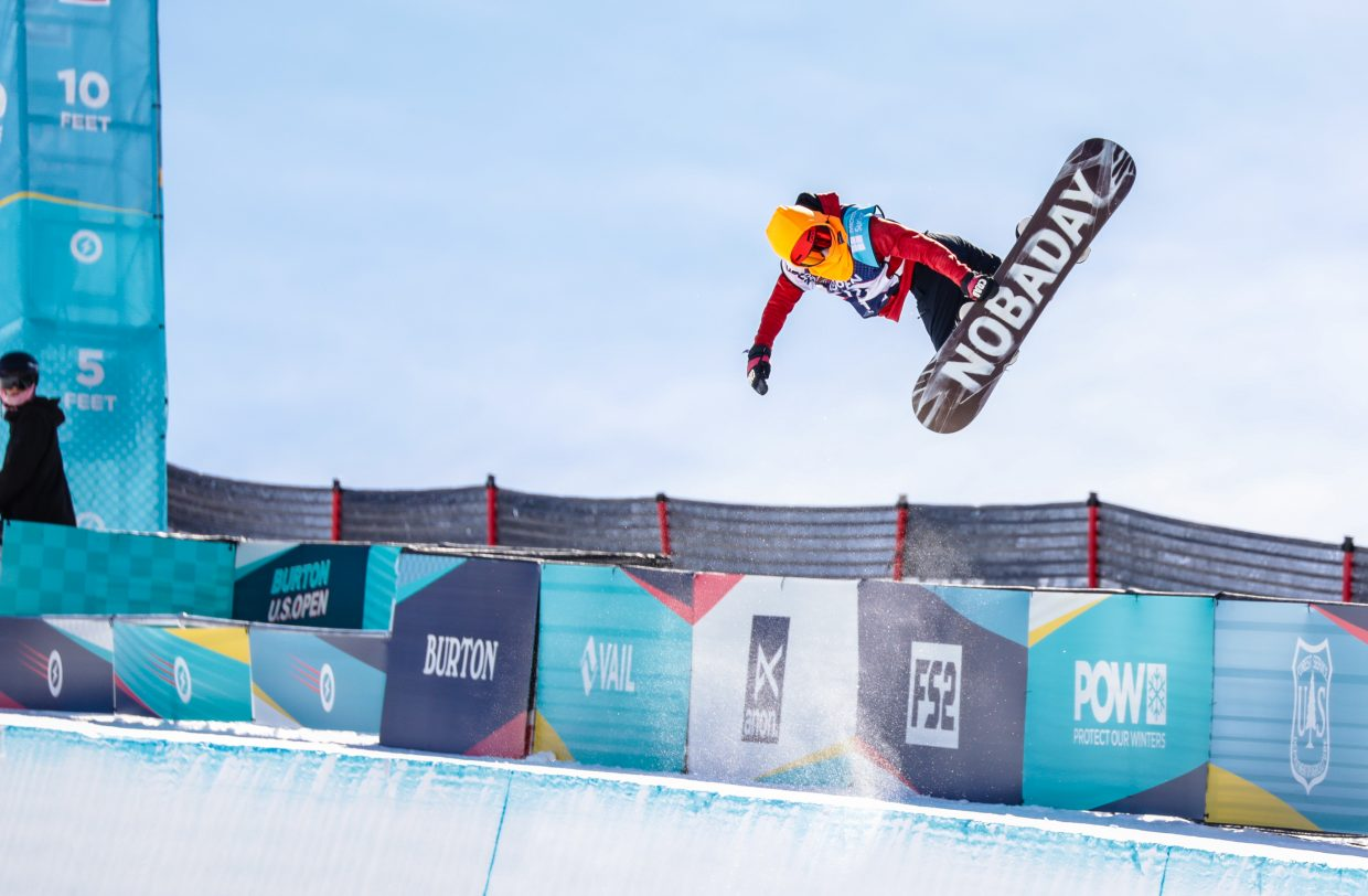 Levko Fedorowycz competes in the Junior Jam for the Burton US Open Snowboarding Championship Tuesday, Feb. 26, in Vail.