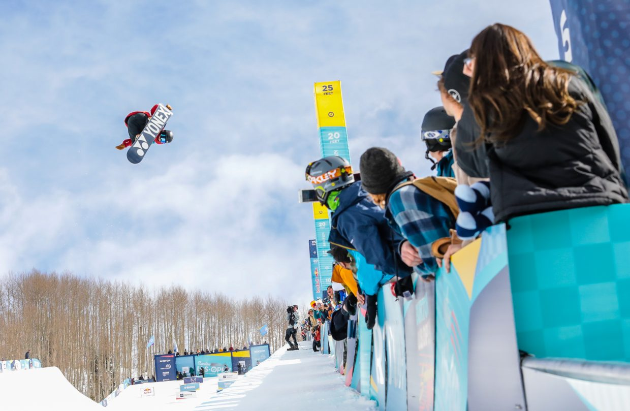 Yuto Totsuka gets big air during the Men's Halfpipe Semi-Finals for the Burton US Open Snowboarding Championships Thursday, Feb. 28, in Vail. Totsuka placed first for finals.