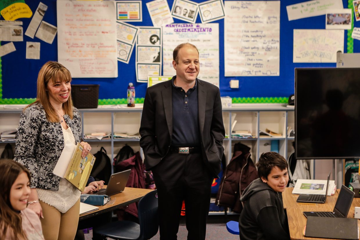 Colorado Gov. Jared Polis visits classrooms at Avon Elementary School during his school visit Friday, Feb. 1, in Avon. Polis asked kids what they were learning, and spoke to them in spanish.