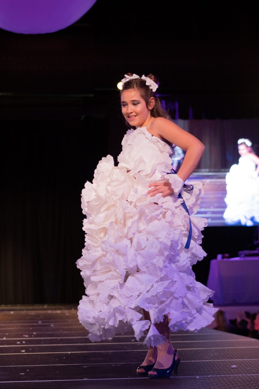 Eden Campos wore a dress made from doilies.