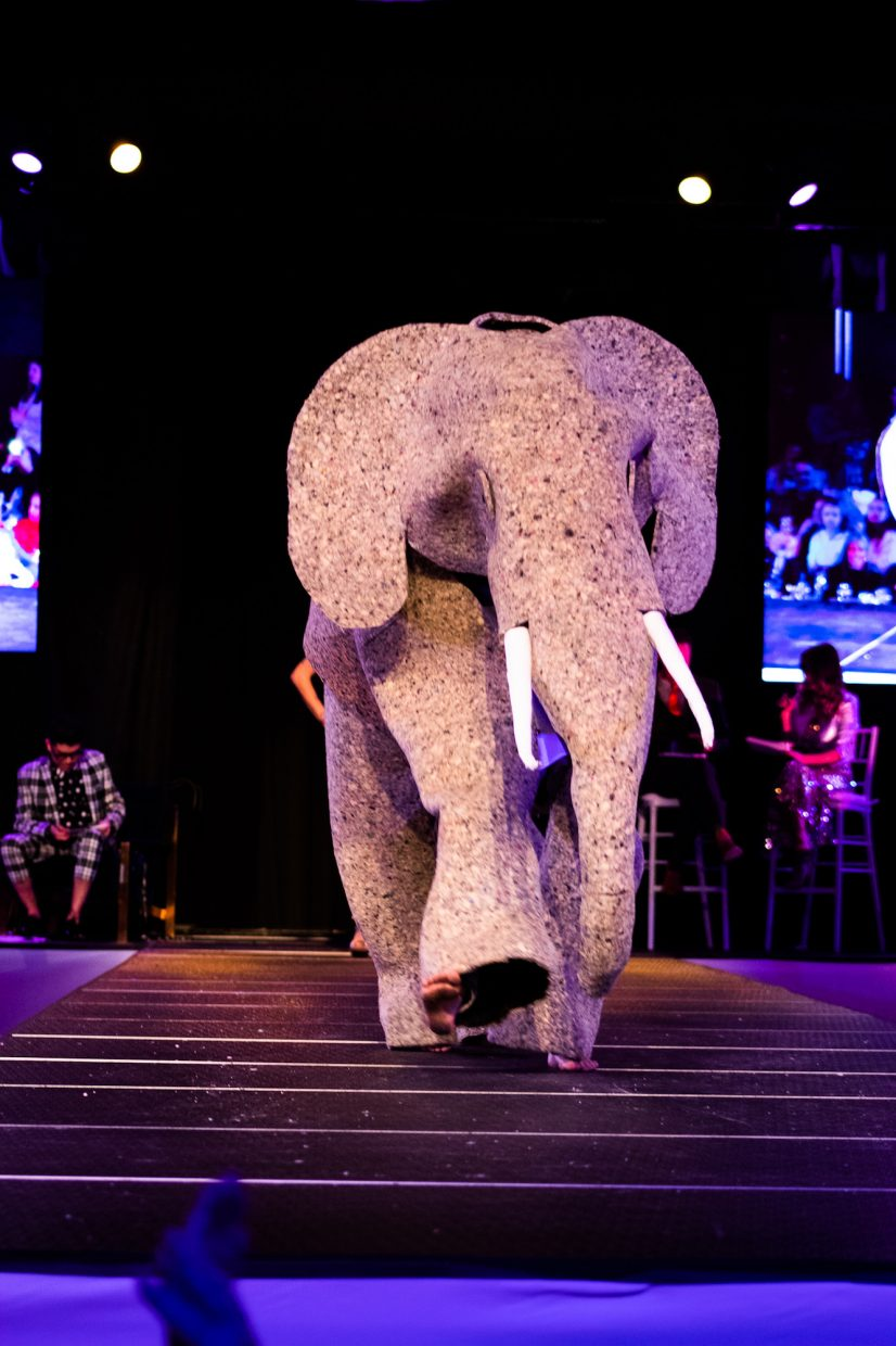 One outfit included a homeade elephant costume that strutted down the runway.