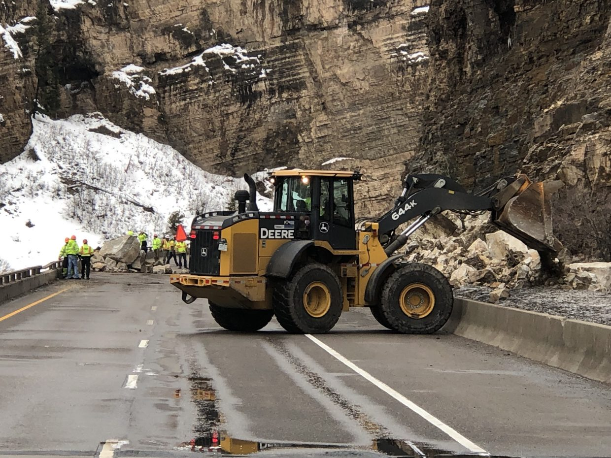 A rockslide in Glenwood Canyon closed Interstate 70 in both directions Tuesday.