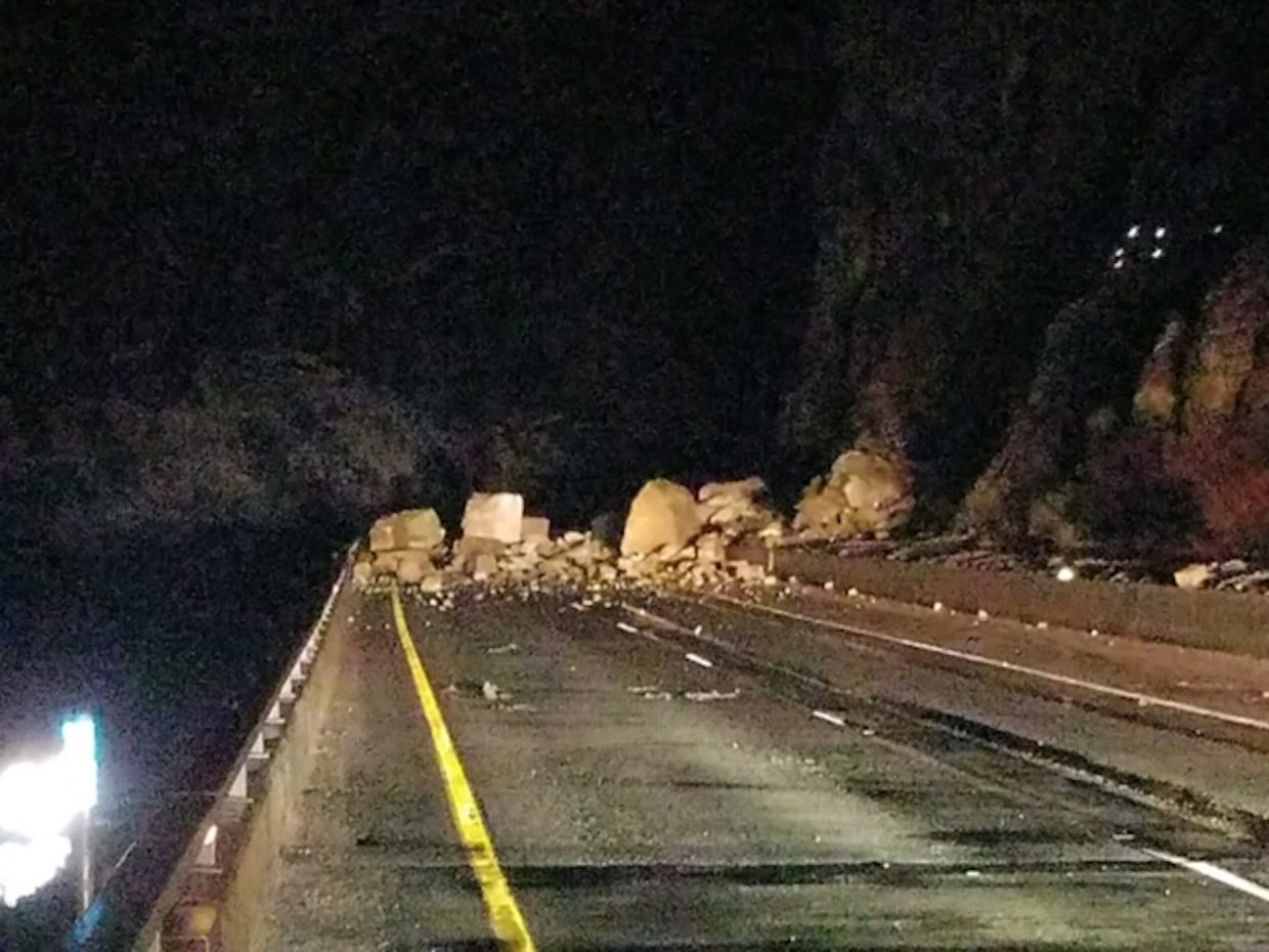 This is what I-70 in Glenwood Canyon looked like when a rockslide his about 1 a.m. Tuesday.