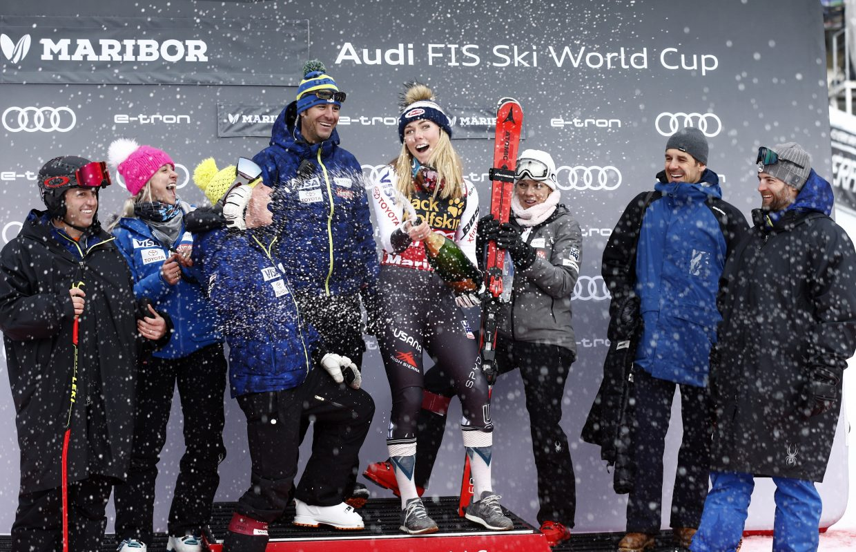 Mikaela Shiffrin finds herself in a familiar spot, the podium. Having swept the Maribor, Slovenia World Cup races this weekend, she seems ready for worlds, which start on Tuesday in Are, Sweden with the women's super-G.