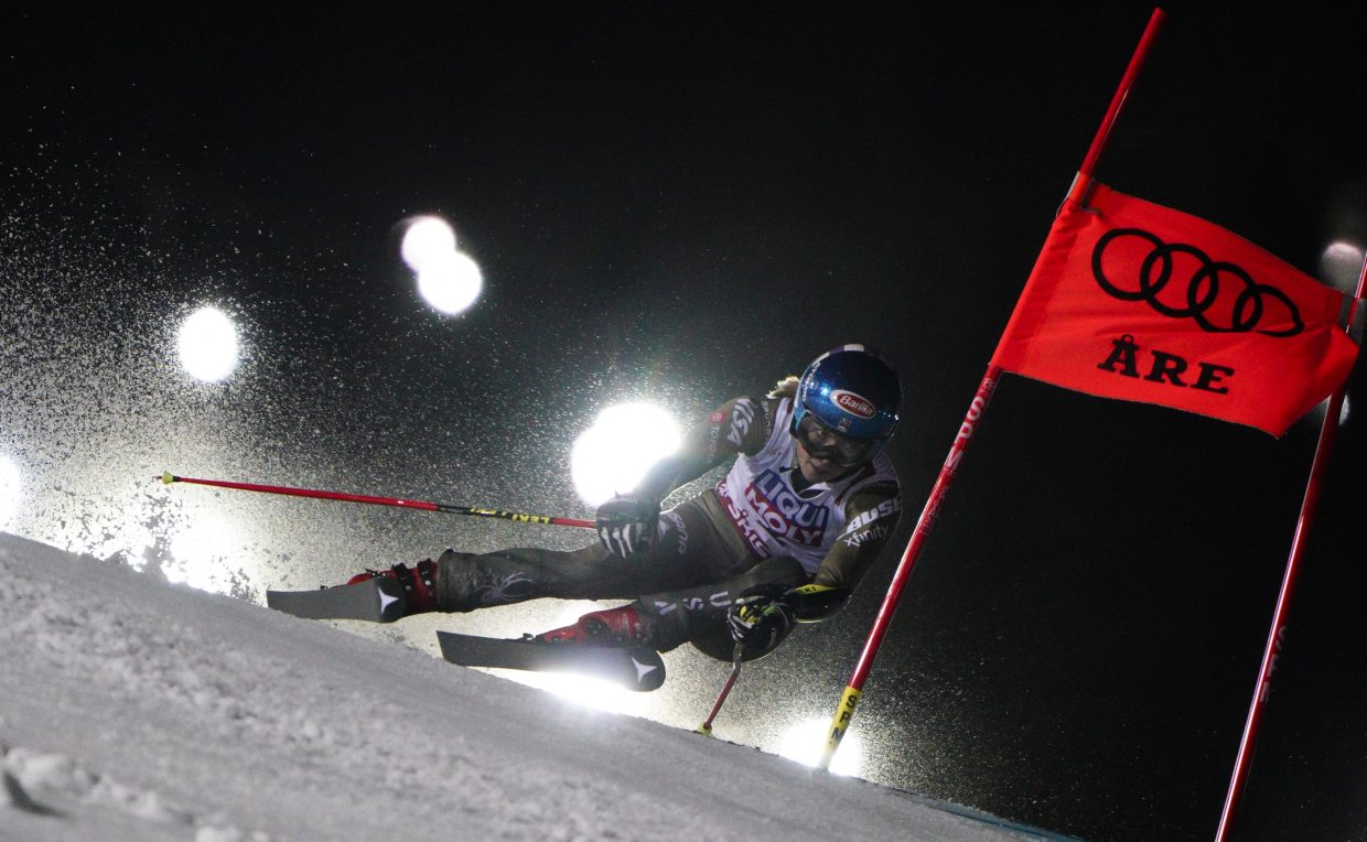 Mikaela Shiffrin races her way down during her second run at the FIS Alpine World Ski Championships in Are, Sweden, on Thursday. Shiffrin finished third for her second medal at this year's worlds.