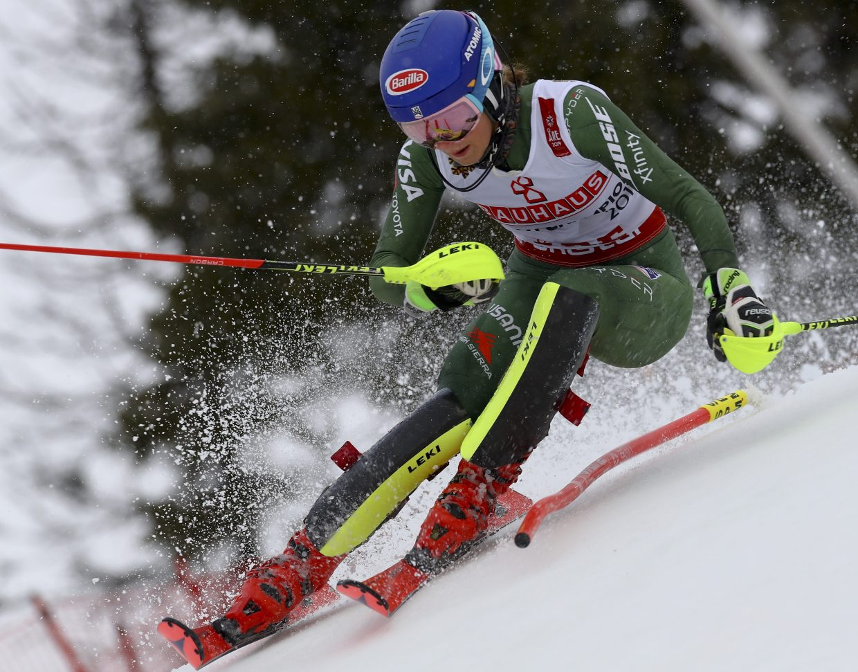 Mikaela Shiffrin charges down during the first run of Saturday's FIS Alpine World Ski Championships in Are, Sweden. Shiffrin was third after the first run.