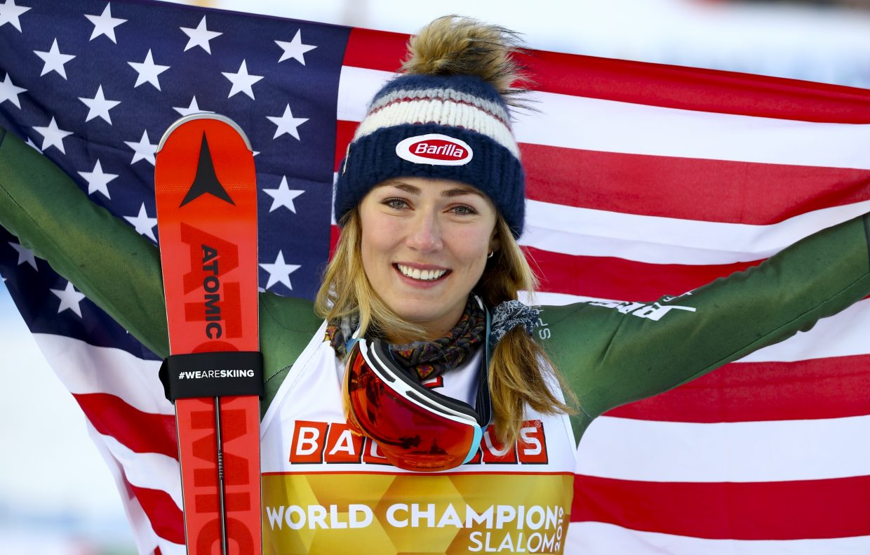 This is not a file photo. Mikaela Shiffrin wins her fifth FIS Alpine World Ski Championship title on Saturday in Are, Sweden.