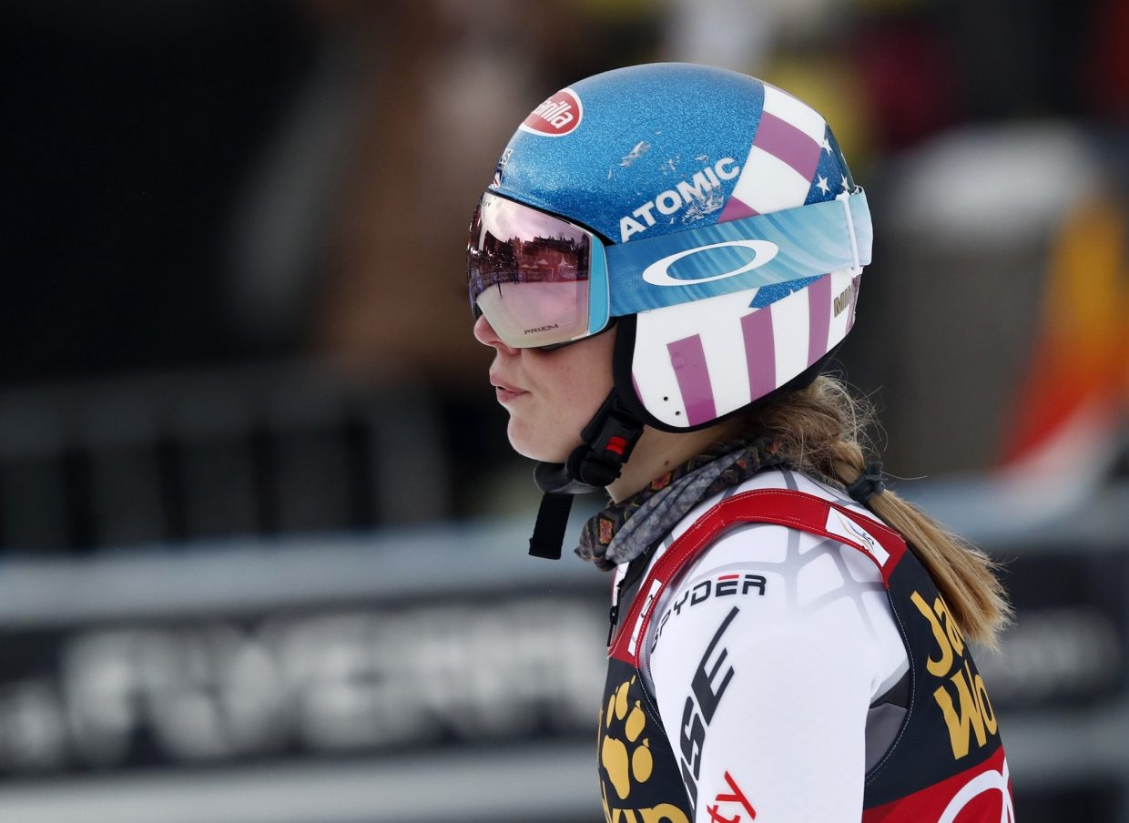 Mikaela Shiffrin checks her time at the finish area Friday.