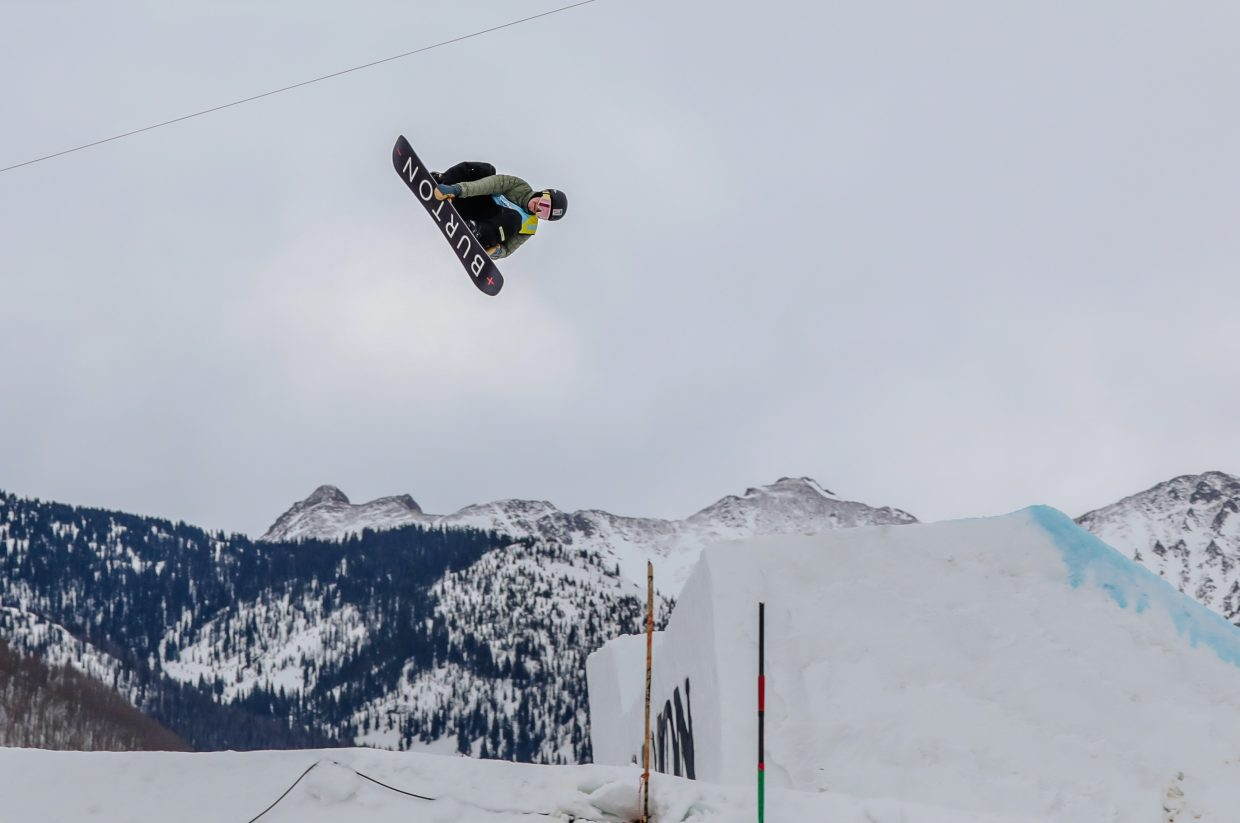 Silverthorne snowboarder Red Gerard catches air at the Burton US Open men's Slopestyle Semi-Finals on Wednesday, Feb. 27, in Vail. Gerard was the top qualifier for the Friday men's Slopestyle Finals, which are scheduled to begin at 2 p.m.