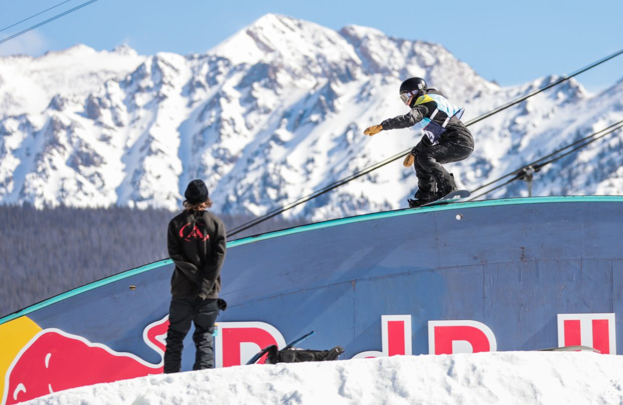 American snowboarder Julia Marino performs a boardslide on the Redbull Rainbow Rail during the women's Slopestyle Semi-Finals at the Burton US Open Snowboarding Championships on Wednesday, Feb. 27, in Vail. Marino qualified for Friday's finals in second position.
