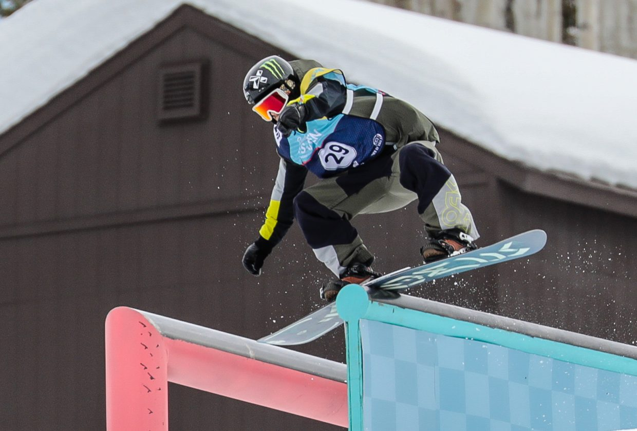 Stale Sandbech performs a boardslide during the Burton US Open men's Slopestyle Semi-Finals on Wednesday, Feb. 27, in Vail. Sandbech qualified for the Friday final in fifth position.