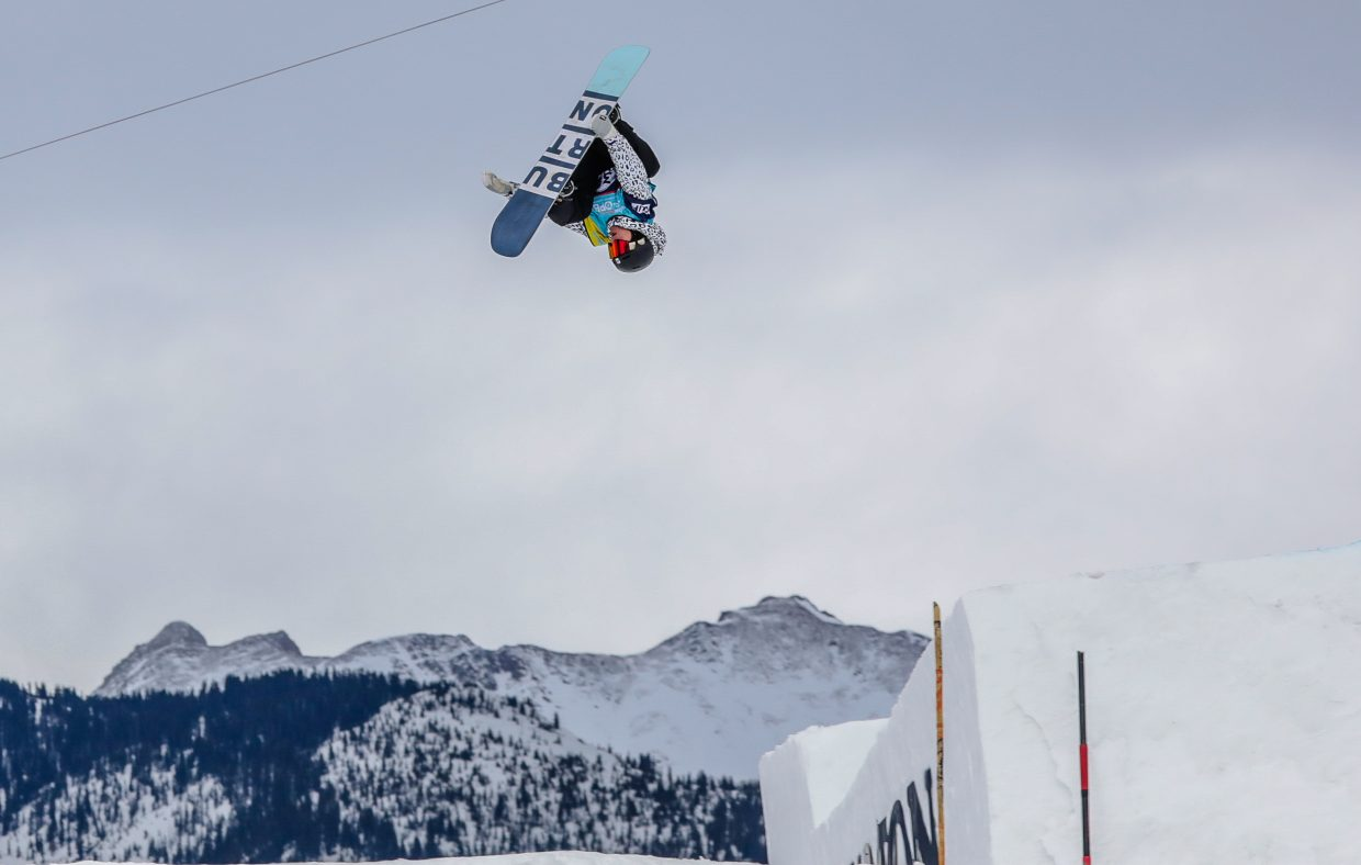 Lyon Farrell of Hawaii gets inverted during the men's Slopestyle Semi-Finals at the Burton US Open Snowboarding Championships on Wednesday, Feb. 27, in Vail. Farrell qualified for Friday's finals in sixth position.