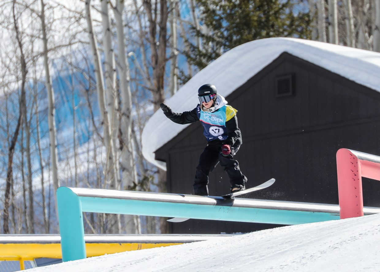 Enni Rukajarvi of Finland performs a boardslide during the women's Slopestyle Semi-Finals at the Burton US Open Snowboarding Championships on Wednesday, Feb. 27, in Vail.