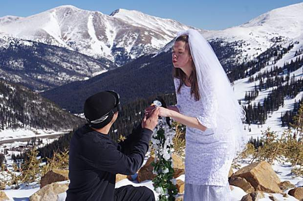 Two years ago, 70 couples turned out for the annual Mountaintop Matrimony at Loveland Ski Area on Valentine's Day.