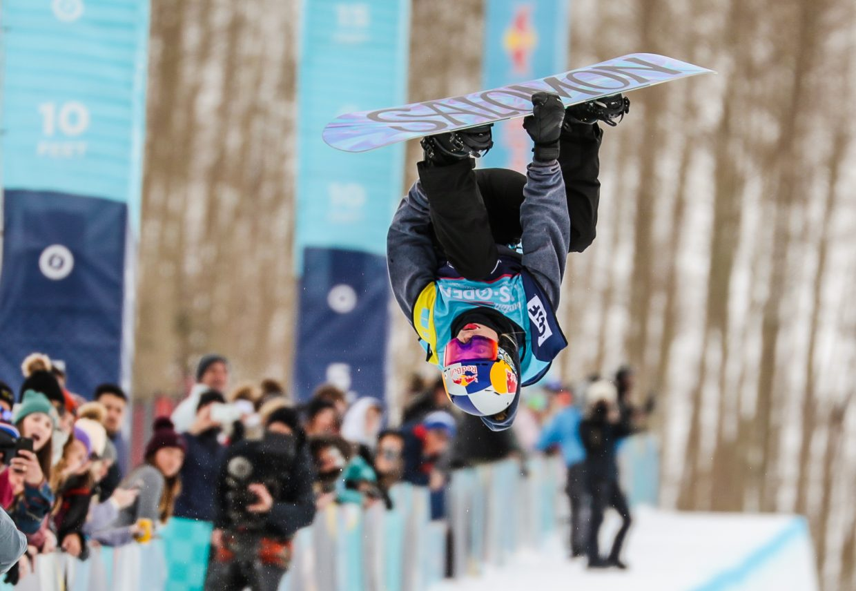 Maddie Mastro throws her double crippler during the Women's Halfpipe Finals during the Burton US Open Snowboarding Championships in 2019.