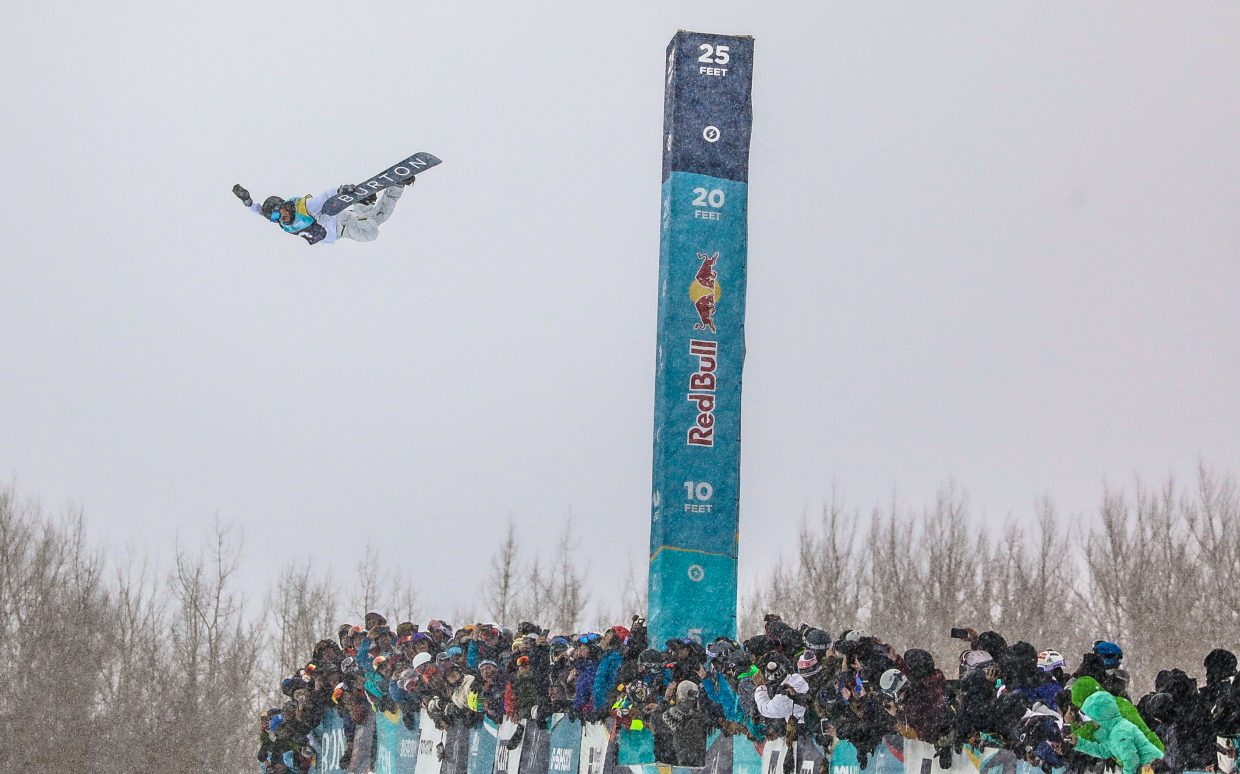 Raibu Katayama goes absolutely huge for the Men's Halfpipe Finals during the Burton US Open Snowboarding Championships Saturday, March 2, in Vail, Colo. Katayama took second. (AP Photo/Vail Daily Chris Dillmann)