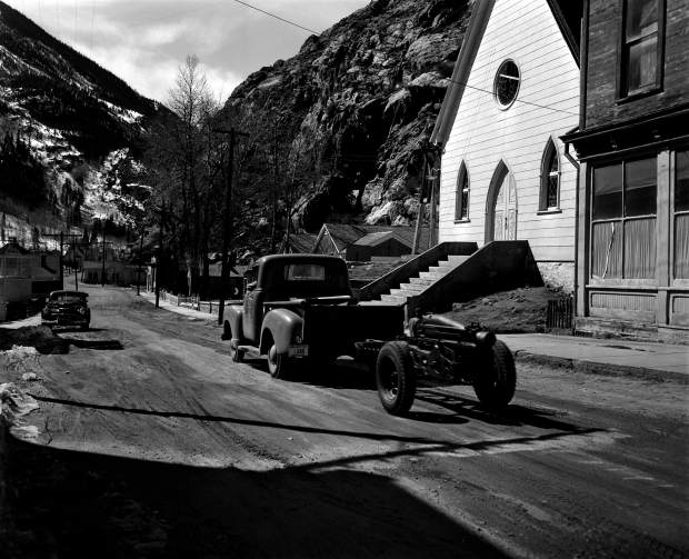 Courtesy Lauren Cooper, Colorado Department of Transportation | A 75-millimeter Howitzer used for avalanche mitigation and snow removal is seen in Silver Plume in March 1953.