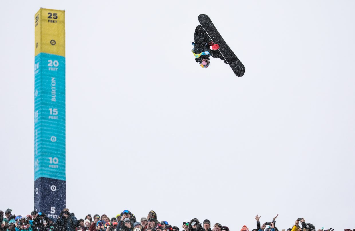 Scotty James throws down for the finals of the Men's Halfpipe for the Burton US Open Snowboarding Championships Saturday, March 2, in Vail. James took first, winning every contest this year.