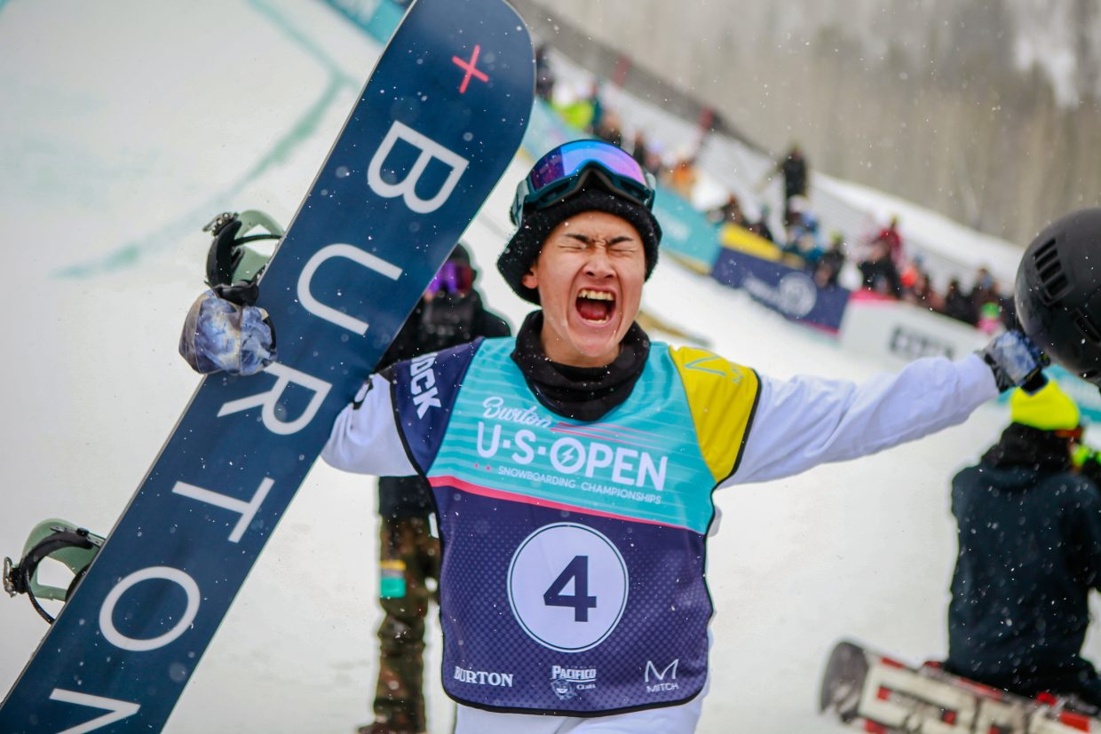 Raibu Katayama goes bonkers after his run for the Men's Halfpipe Finals during the Burton US Open Snowboarding Championships Saturday, March 2, in Vail. Katayama took second.