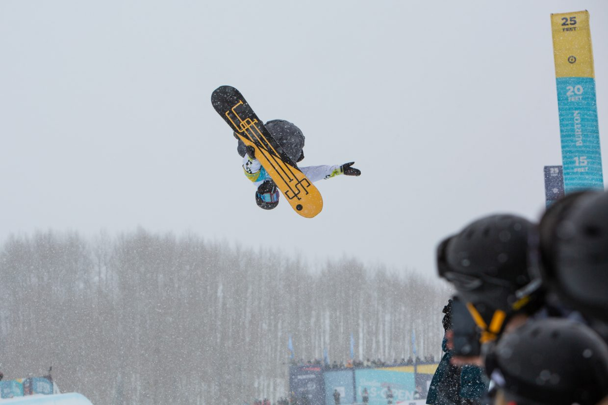 Derek Livingston impresses the crowd during the Men's Halfpipe Finals during the Burton US Open Snowboarding Championships Saturday, March 2, in Vail. Livingston finished seventh.
