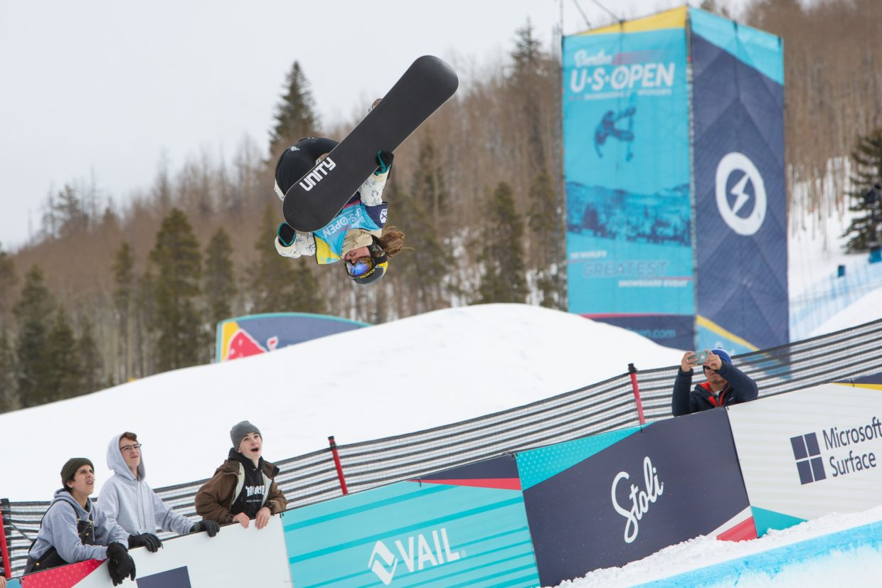 Arielle Gold of Steamboat Springs gets inverted during the Women's Halfpipe Finals during the Burton US Open Snowboarding Championships Saturday, March 2, in Vail. Gold placed fourth.