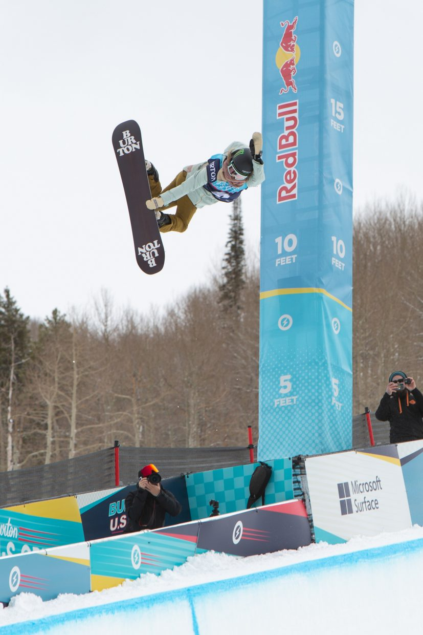 Chloe Kim throws a huge method grab during the Women's Halfpipe Finals for the Burton US Open Snowboarding Championships Saturday, March, 2, in Vail. Kim took second.