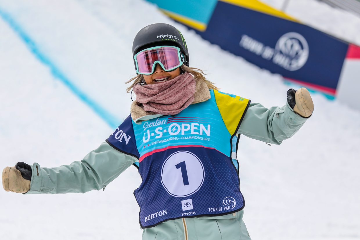 Chloe Kim celebrates after her run during the Women's Halfpipe Finals during the Burton US Open Snowboarding Championships Saturday, March 2, in Vail. Kim took second.