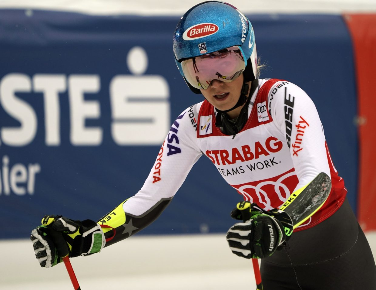 Mikaela Shiffrin reacts after her first run during women's World Cup giant slalom in Spindleruv Mlyn, Czech Republic, on Friday. After a disappointing first run, she recorded the fastest time in the afternoon to finish in third place.
