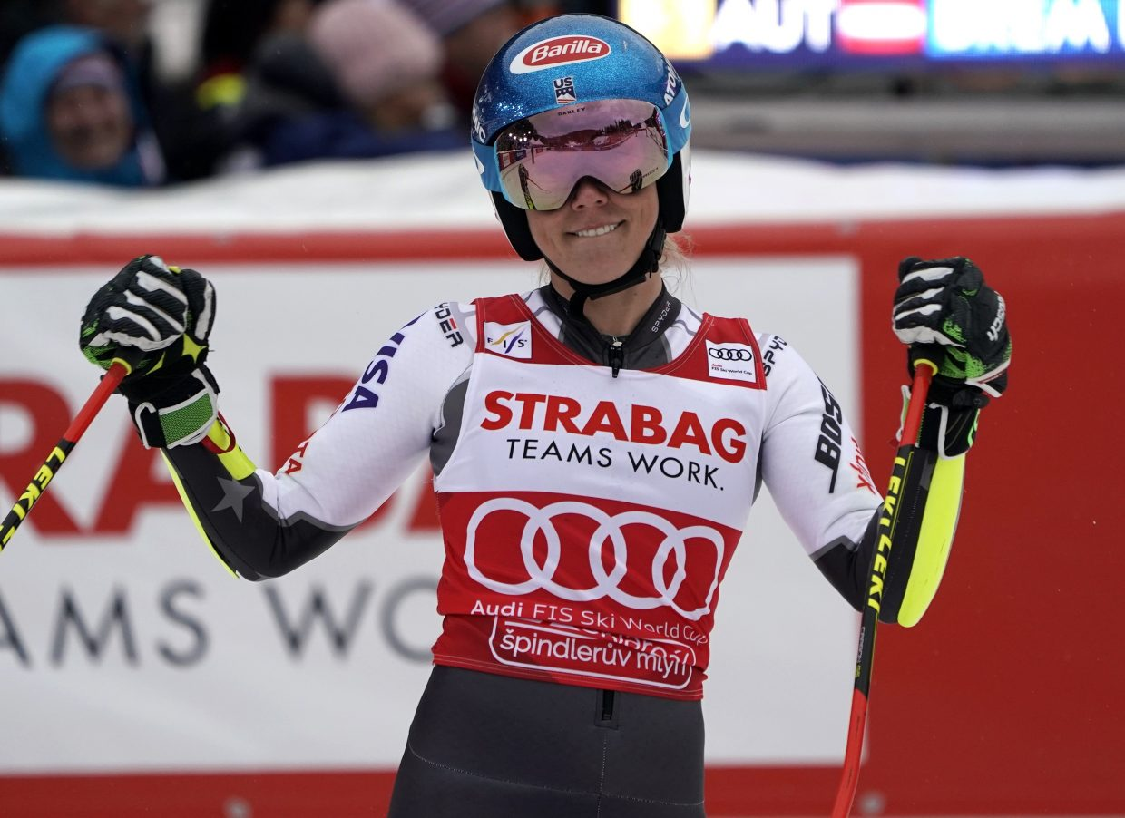 That's more like it. Mikaela Shiffrin her second run of Friday's women's World Cup giant slalom, in Spindleruv Mlyn, Czech Republic, on Friday. Her second run helped her jump past Italy's Federica Brignone to finish third.