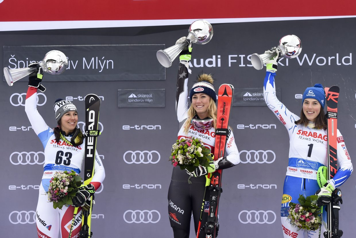 Mikaela Shiffrin lands on the top step of the podium again. The next stop is the World Cup finals in Soldeu, Andorra, next week.