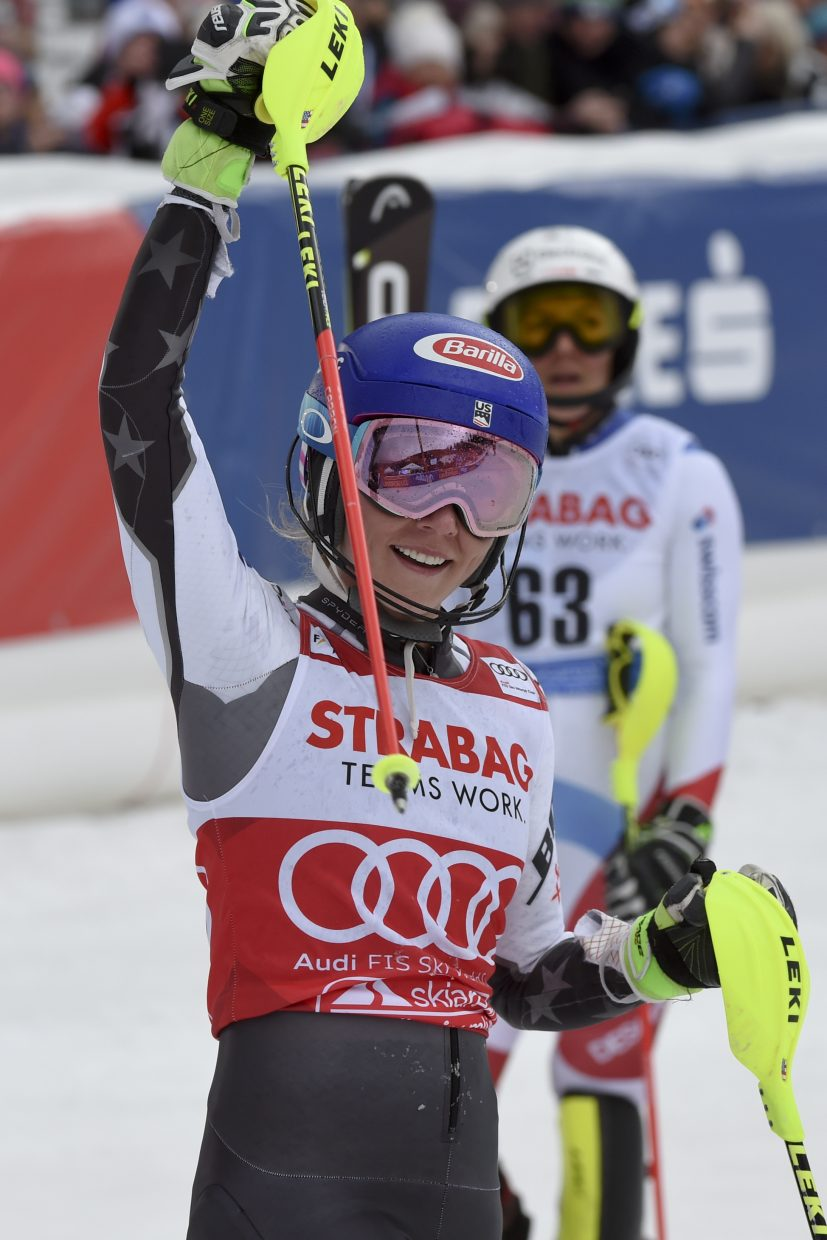 Mikaela Shiffrin celebrates after crossing the finish line to win the first race of her career in Spindleruv Mlyn, Czech Republic, on Saturday. Of course, the World Cup tour hasn't been to this venue since 2011, when Shiffrin was making her World Cup debut.