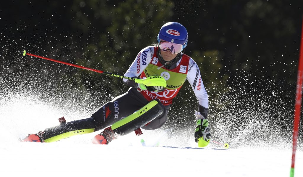 Mikaela Shiffrin speeds toward her 40th World Cup slalom victory of her career on Saturday in Soldeu, Andorra. Only Ingemar Stenmark and Shiffrin have won 40 slaloms in their career.