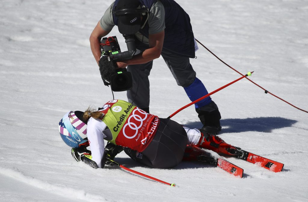 Mikaela Shiffrin is overcome with emotion after winning Sunday's giant slalom in Soldeu, Andorra, and the GS World Cup championship for the first time in her career.