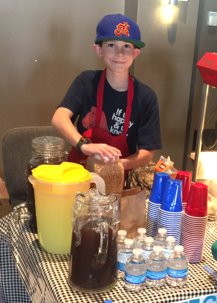 Fourth grader Hudson Wyatt brought authentic sweet tea along with his lemonade and popcorn stand.