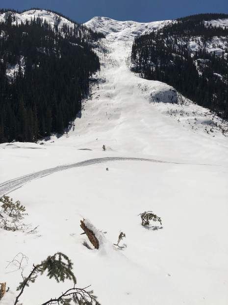 A well-established avalanche path on Green Mountain east of Aspen on Highway 82 slid earlier this month with enough volume to cover the closed Highway 82 with snow.