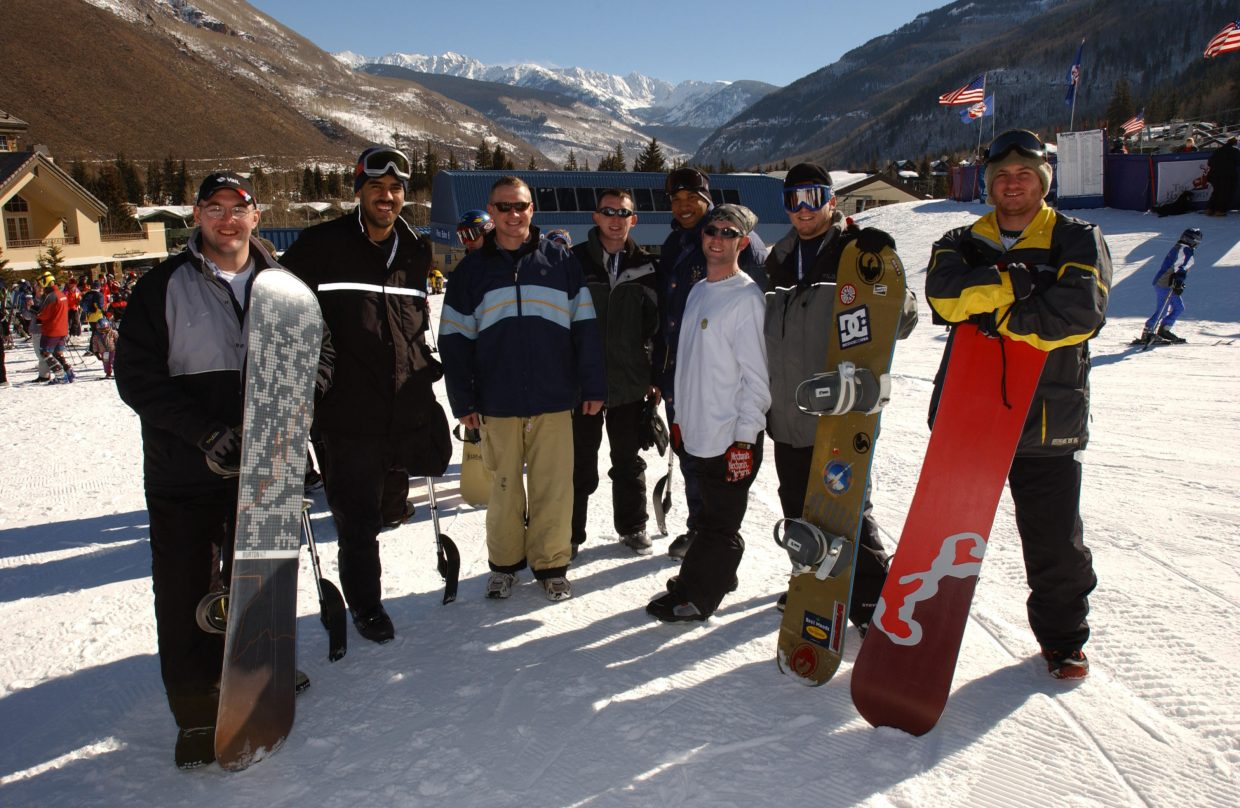This is March 7, 2004 and a group of US Army Iraq War veterans, all amputees, were in Vail for a day on the slopes snowboarding and skiing.