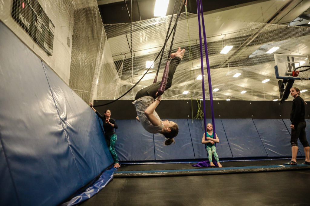 Jenna Kisker, 11, of Edwards practices on the trapeze Circus Fun Drop-in at Mountain Recreation (formally WECMRD) Tuesday in Edwards. The drop-in is from 7-8 p.m. Tuesdays and Fridays in the field house.