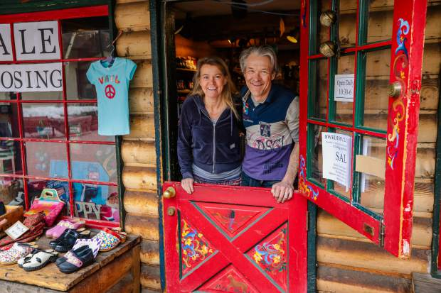 Chris and Tessa Manning pose for a photo at the Swedish Clog Cabin on Wednesday in Lionshead Village in Vail.