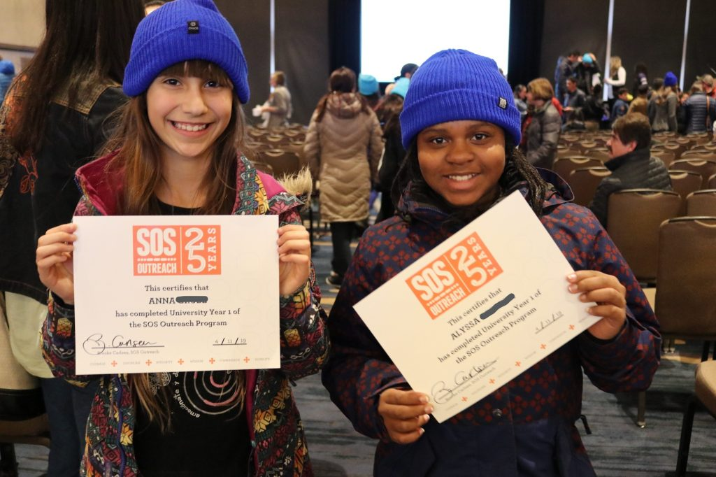 SOS University is a four-year program. Anna and Alyssa are among the many who finished their first year.