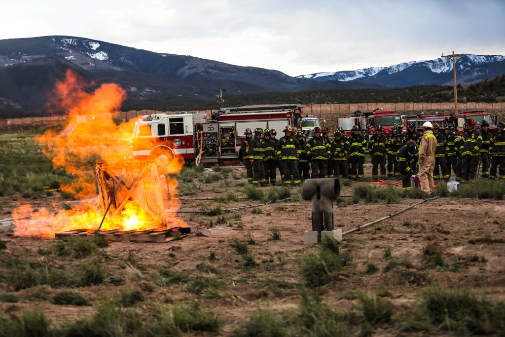 Black Hills Energy conducted natural gas fire training for fire crews from Vail to Gypsum Tuesday, May 7, in Gypsum. The training informed departments what to do when a natural gas fire occurs, and how they work with the energy company to be on the same protocol.