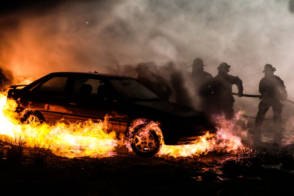 Firefighters from multiple departments in the Vail Valley work in a training exercise to extinguish a car caught on fire by natural gas led by Black Hills Energy Tuesday in Gypsum.