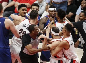 """Nuggets get middle-finger salute from Evan Turner in loss to Portland. How will Denver's sassy """"front-runners"""" respond in Game 7?"""