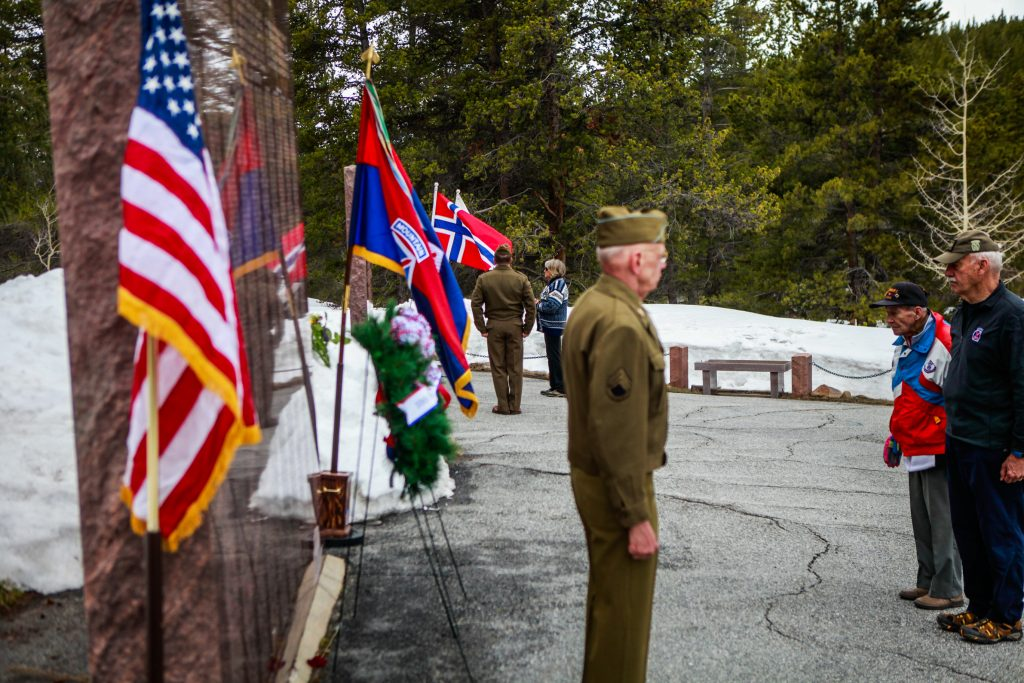 Wreaths are laid at the base of the 10th Mountain Division memorial as veterans and family members pay their respects during the 60th annual Tenth Mountain Division Foundation Memorial Day Ceremony Monday at the summit of Tennessee Pass. The event paid tribute to all the fallen 10th soldiers.