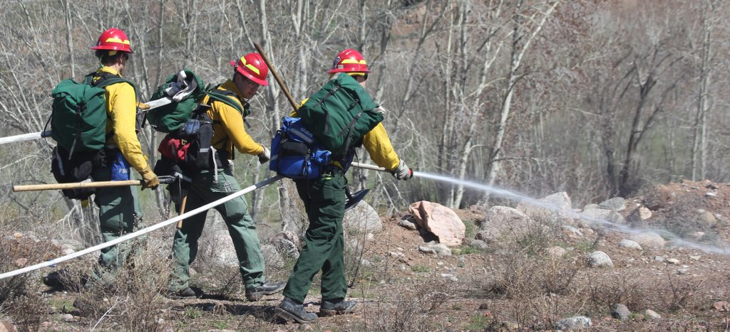 These firefighters are training for extended hose lays during joint training exercises.