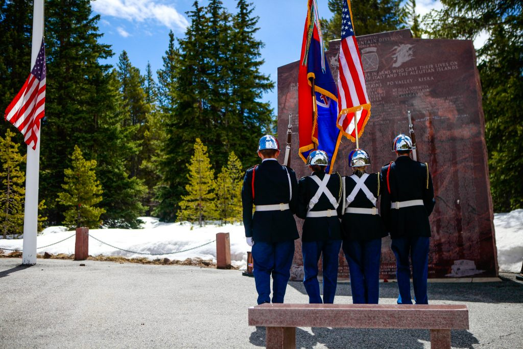 Canon City High School Junior Reserve Officers' Training Corps posts the colors during the start of the 60th annual Tenth Mountain Division Foundation Memorial Day Ceremony Monday on Tennessee Pass. The event lasted about an hour.