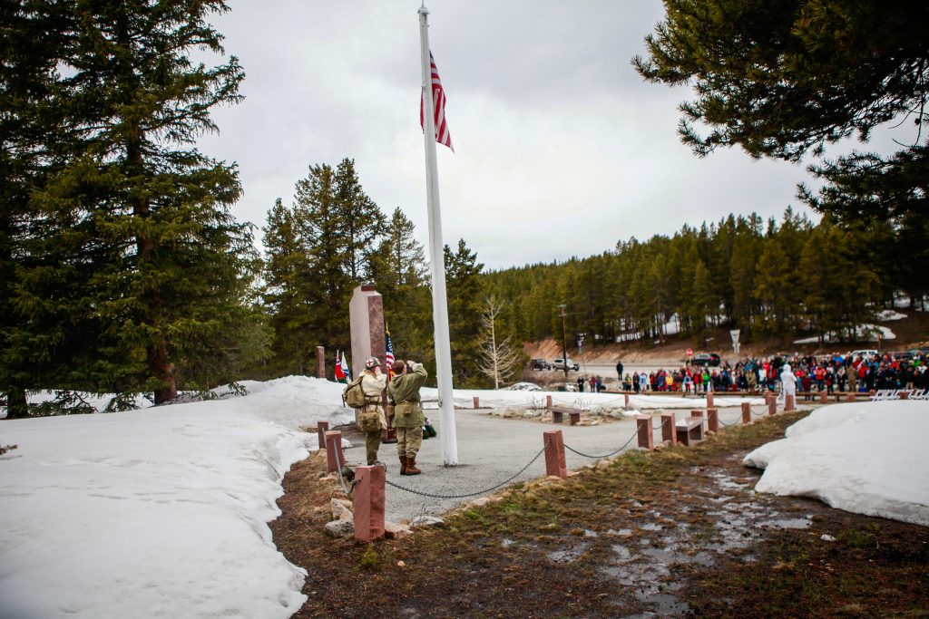The flag is raised to Full Staff during the annual Memorial Day ceremony chilly Memorial Day Monday on Tennessee Pass. The ceremony drew a healthy crowd.