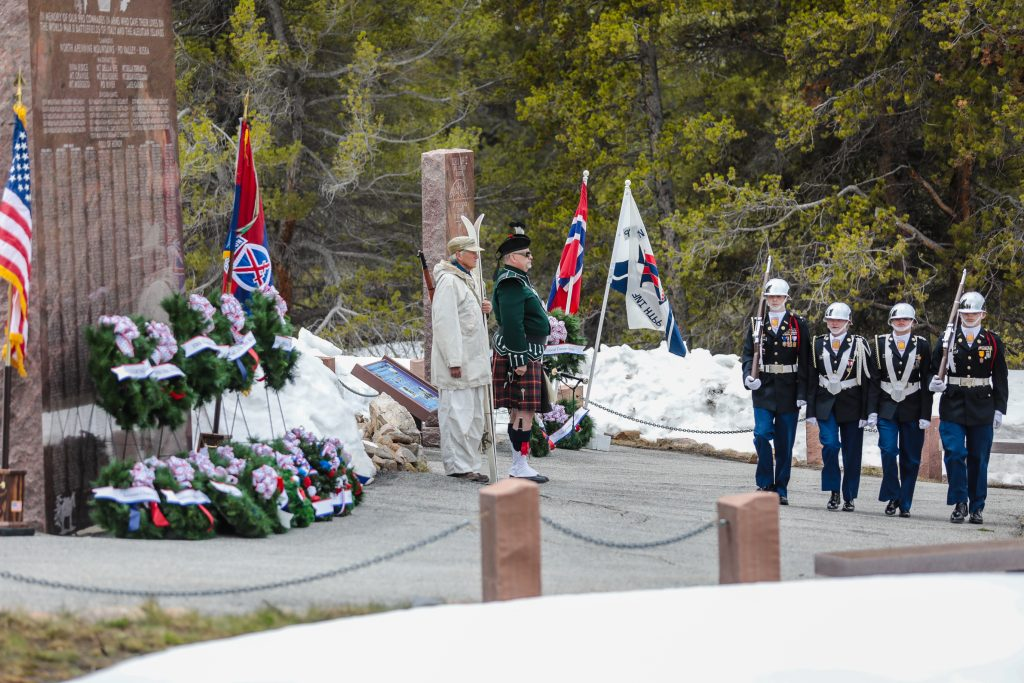 The Canon City High School JROTC retire the colors during the annual Memorial Day ceremony Monday on Tennessee Pass.