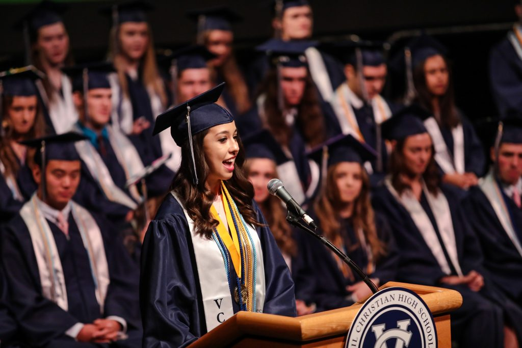 Vail Christian Salutatorian, Jasime Hartman Budnik, address the audience in her speech during commencement Saturday in Beaver Creek.
