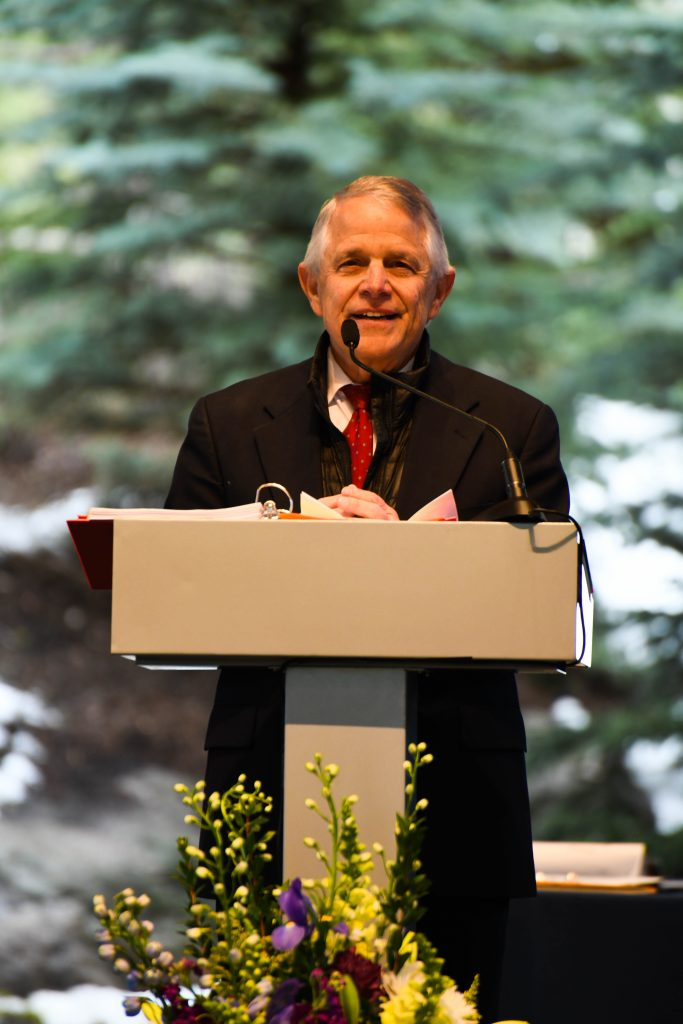 Head of School Michael Imperi addresses the crowd at Friday's Vail Mountain School commencement in Vail.